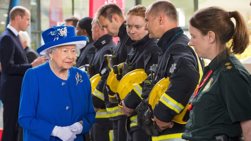 Queen says Britain sombre but steadfast
