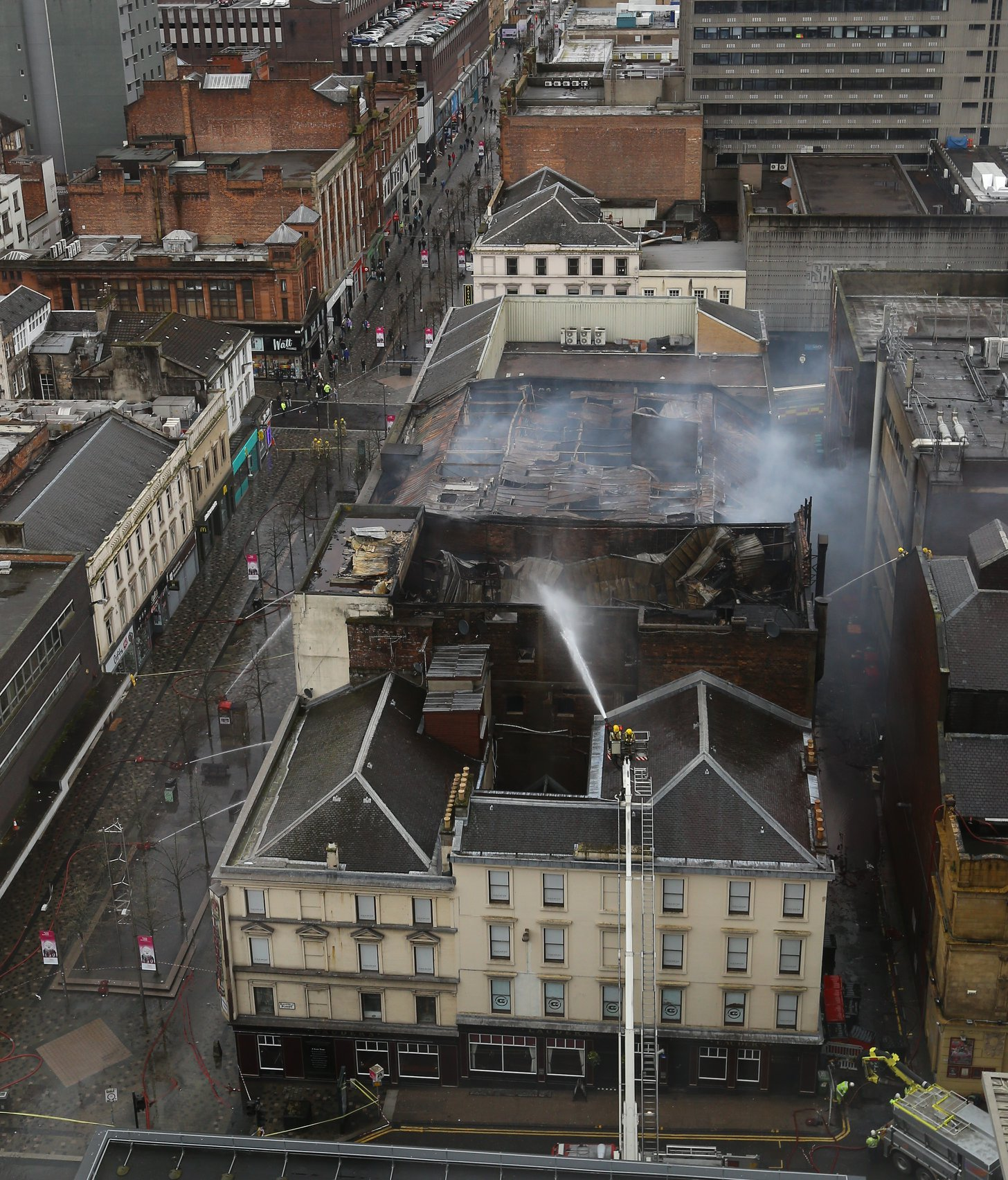 Firefighters remain at scene of major blaze in Glasgow city centre